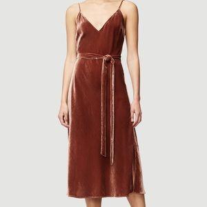 FRAME rust velvet slip dress with tie